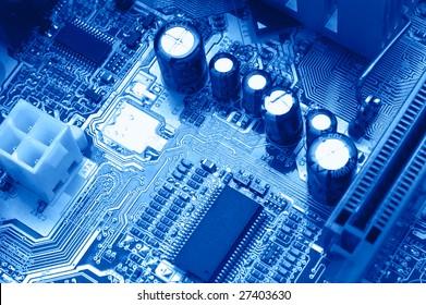 Shining: bright circuit macro blue toned
