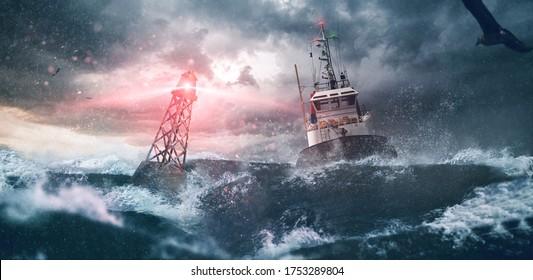 Shining buoy tells ship the way