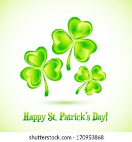 Shining clovers Patrick's day greeting card template