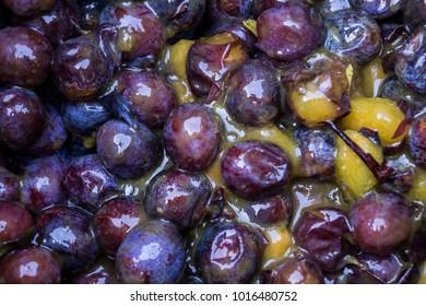 Shining crushed plums