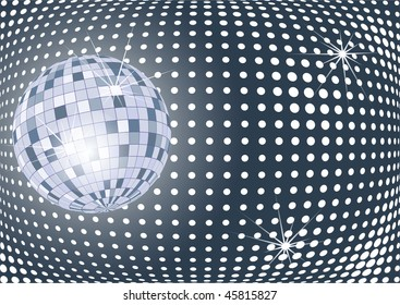 Shining disco ball with sparkles, vector version is also available