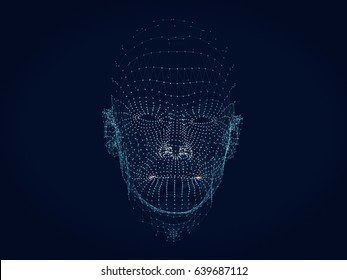 shining dots and line of human head 3d model.3D rendering.