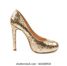 8a1fb0e370f8 Shining golden high-heeled footwear shoe isolated over the white background
