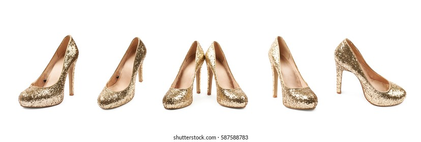 Shining golden high-heeled footwear shoe isolated over the white background, set of five different foreshortenings