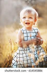 Shining happy little girl on summer meadow