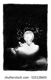 Shining lamp in her mouth. Woman's face profile with shining lamp in her mouth, insects over it. Charcoal surrealistic illustration.