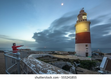 Shining a light on the Europa Point lighthouse during sunrise