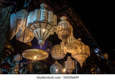 Shining moroccan metal lamps in the shop in medina of Marrakesh, Morocco