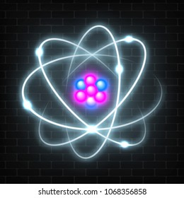 Shining neon planetary model of nuclear atom. Abstract molecule glowing design.