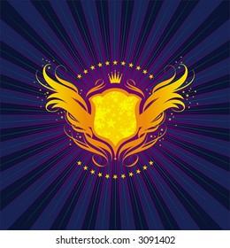 Shining shield, crown and fiery wings
