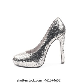 855e498522 Shining silver high-heeled footwear shoe isolated over the white background