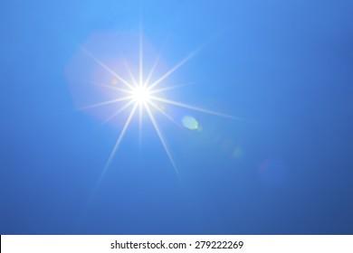 Shining sun with blue sky