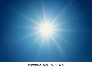 Shining sun at clear blue sky with copy space. Sunny day blue background.