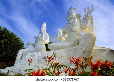 Shining white coloured Shiva Parvati Statue at Kailasagiri Park, Visakhapatnam, India