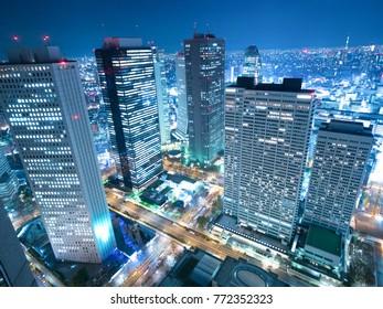 Shinjuku high-rise building city at night