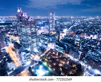 Shinjuku high-rise building city at night