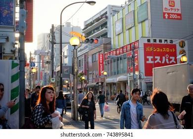 Shinjuku Japan , Arpil 2017 : The golden week day of Japan , any people walking on street