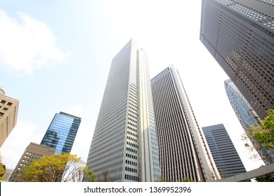 Shinjuku skyscrapers and blue sky