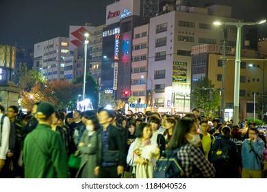 Shinjuku street, Tokyo, Japan, - November 2017 : Japan, Shibuya Crossing, Shinjuku Ward, Shibuya Ward at night
