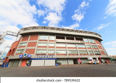 Shinjuku, Tokyo, Japan - December 20, 2017: The Meiji Jingu Stadium is a baseball stadium in Shinjuku, Tokyo, Japan. It opened in 1926 and holds 37,933 spectators.