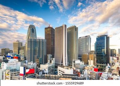 Shinjuku, Tokyo, Japan financial district cityscape.