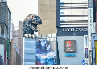 Shinjuku, Tokyo, Japan - March 24, 2016 : Godzilla huge model on the top of Hotel Gracery Shinjuku