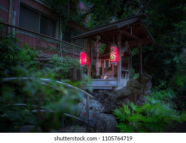 Shinjuku, Tokyo / Japan - May 8th 2018 : Night view of the Tsunokami Benzaiten shrine at the Mouchi no Ike sacred shinto shrine.
