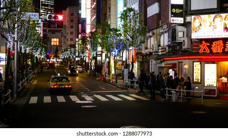 Shinjuku, Tokyo / Japan - November 14 2018: Street at night in the Kabukicho Red-Light District of Tokyo.