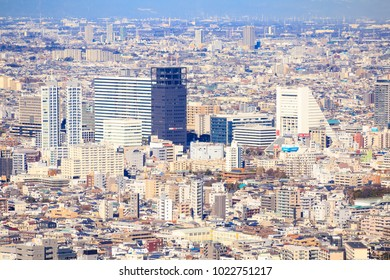 Shinjuku, Tokyo, Japan-February 7, 2018: Residential and business district in Nakano ward in Tokyo