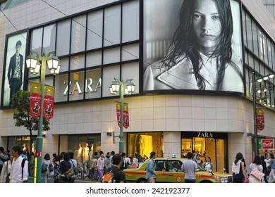 SHINJUKU, TOKYO - MAY 31, 2014: International fast fashion shop ZARA from Spain has big business in Japan. This is one of their branches situated in the center of Shinjuku area, metropolitan Tokyo.