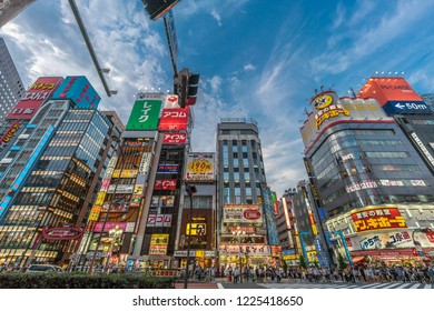 Shinjuku Ward, Tokyo - August 11, 2018 : Late afternoon scene in Kabukicho district. People crossing crowded streets, shops and restaurants neon billboards.