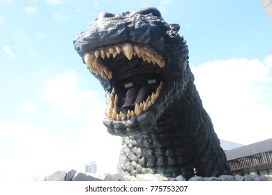 Shinjuku,Tokyo/Japan-Oct.8.2017:Godzilla statue at Toho cinemas Shinjuku. TOHO Cinemas is a Japanese film, theatre production and distribution company and famous for Godzilla movies.