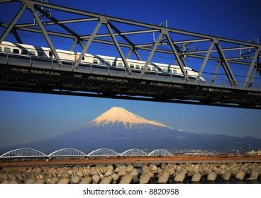 The Shinkansen runs over Mt,Fuji peak