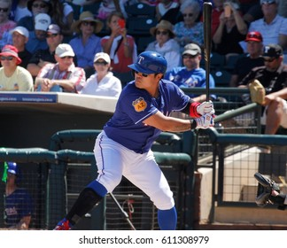 Shin-Soo Choo right fielder for the Texas Rangers at Surprise Stadium in Surprise Arizona USA March 24,2017.