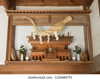 Shinto shelf set in a Japanese house