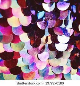 Shiny abstract background of semicircular multi-colored plastic elements of sequins texture fashion. Neon trend colors