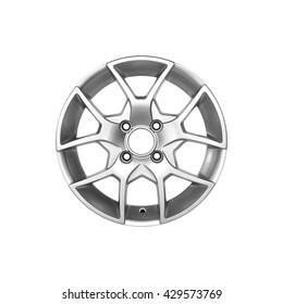 Shiny aluminum alloy silver car rim on a white background