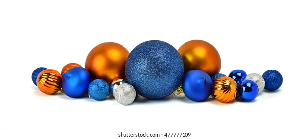 Shiny balls, Christmas ornaments, decorations on the Christmas tree. / Isolated on white background /.