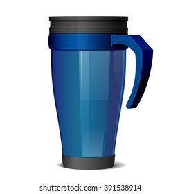 Shiny blue Metal travel thermo cup