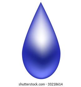 Shiny blue raindrop. Vector also available.