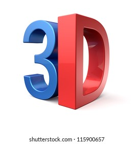 Shiny blue and red letters spelling out 3D