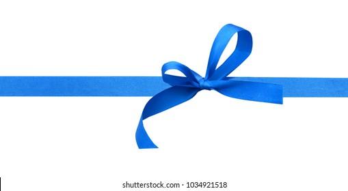 Shiny blue ribbon with bow isolated on white