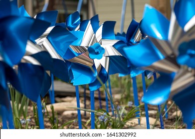 Shiny Blue and Silver Pinwheel