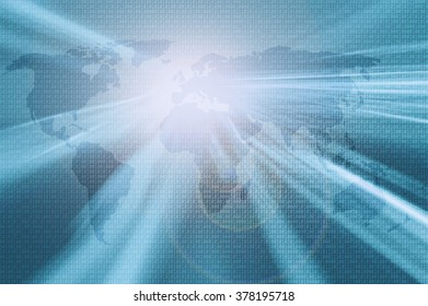 Shiny bright blurred abstract world map with binary numbers and lens flare background.