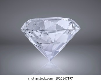 Shiny brilliant diamond placed on gray background