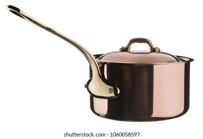 Shiny bronze pan with lid isolated on white. Cookware