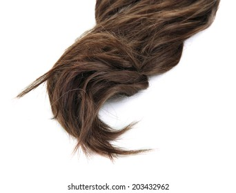 Shiny brown hair isolated on white