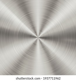Shiny brushed metallic steel, aluminium circular background texture. Bright polished metal silver plate. Round shiny glossy stainless steel texture - Shutterstock ID 1937711962