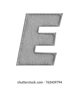 Shiny cement or stone style uppercase or capital letter E in a 3D illustration with a rough rocky surface texture and dark gray color basic bold font isolated on a white background with clipping path.