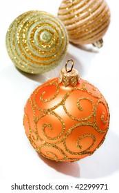 Shiny Christmas ball toys isolated on white background